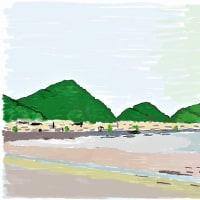 鴨川の浜辺(イラスト)