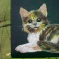 オイルパステル猫