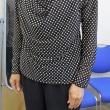 白黒ドット模様の別布付ドレープTシャツ(カットソー生徒作品)