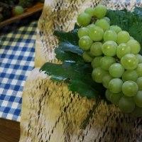 我が家の収穫=見た目は悪いけど美味しいブドウ♪