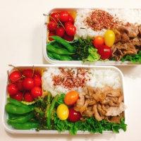 豚肉の生姜焼きと春菊のごま和えの お弁当