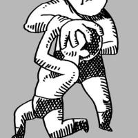 「アイアンクロー(鉄の爪)」フリッツ・フォン・エリック(プロレス技似顔絵)