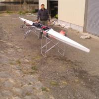 シングルスカルの進水式と乗艇練習