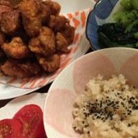 唐揚げ祭り 衣カリッ鶏肉プリふわ 肉汁ジューシィ  発芽玄米もち麦キヌアごはん  小松菜サラダ トマトサラダ