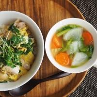 春菊の親子丼 冬野菜のジンジャースープ