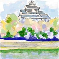描く水彩画 「川面に映る岡山城」