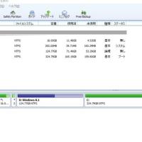 パーティションの変更、Cドライブを増やしました。
