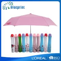 女性向けの可愛いバラ柄のボトルデザインの五段折りたたみ傘