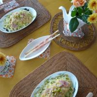オリーブ麺DEコーンクリームパスタ~ピスタチオ添え