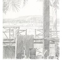 北中城村グランブルーの鉛筆画