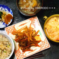 牛蒡ネギご飯と白菜ケチャップ卵とじ
