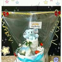 birthdayクマさん★オムツケーキ完成