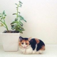 羊毛フェルトブローチの三毛猫