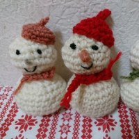 最近作ったもの色々④ ~かぎ編みで雪だるま~