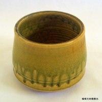 琉球大田焼窯元 ☆平良幸春陶芸作品 草木灰釉筒型鉢