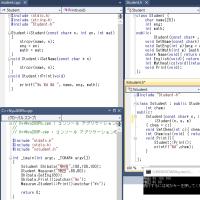 C++で遊んでました。Student,派生Xstudentクラス。