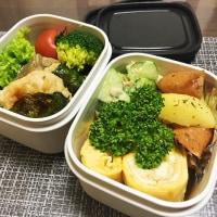 下仁田ネギスープと生姜ご飯のお弁当。