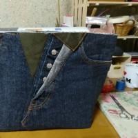 ペイントの柄のジーンズからマザーズバッグ2個め製作中~