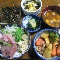 4/21  ばんごはん  刺身、竹の子の煮物