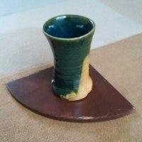 織部釉と黄瀨戸釉で