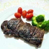 牛ステーキの晩ご飯♪