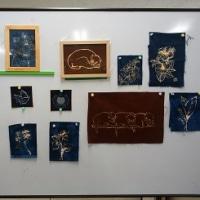 布に絵を描く絵手紙教室
