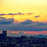 カワセミの動画と今朝の朝焼けと日の出。きょうの一句「朝露」
