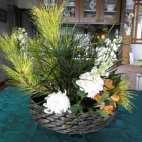 七草がゆの後の生け花