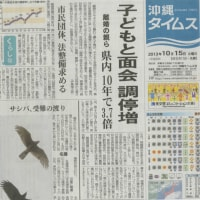 子どもと面会 調停増 (沖縄タイムス1面 2013.10.15)