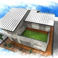 住宅設計デザイン・・・部屋の延長を屋外に計画するように眺望だけではない癒しのスペースとして活用を考えるバルコニーエリアに芝生やウッドデックを。