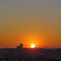 ルリビタキ、今朝の朝焼けと日の出。きょうの一句は「朝露」
