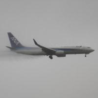 台風の中の B737