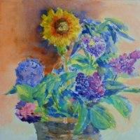 ひまわりと紫陽花