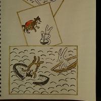 「かちかち山」を描く