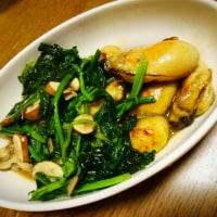 夜ご飯は、牡蠣ガーリックバジルソース炒めとお惣菜達