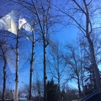 凍る川、青い空