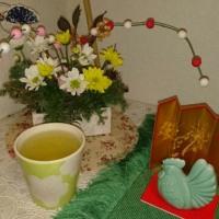お正月のお花と大福茶