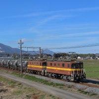 藤原岳の残雪バックに三岐貨物がDD51が待つ富田を目指す。