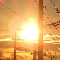 1/23 今朝の朝日 こんな光を見るとすごく元気になる