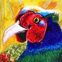 平和な年の願い、「 maruko の トリ 」 ①・・・・仲田 丸子さんの作品 ( クレヨン画 )