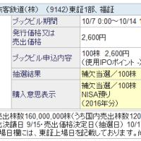 IPO 9142 九州旅客鉄道 補欠当選