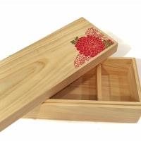媛ひのき の 軽いお弁当箱 (無地木肌とギルディング箔押し菊柄)