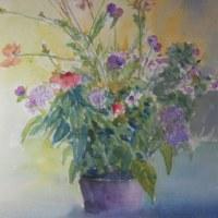 秋の花(F8)水彩