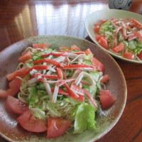 お昼冷麺 夜 お弁当風 プランター菜園、胡瓜1本だけ(笑)