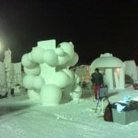 3位入賞!雪像彫刻大会終了。