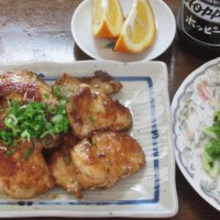 今日のホッピー  食べ過ぎ注意☆鶏肉のねぎマヨポン炒め