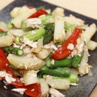 アスパラとジャガイモの炒め合わせ。