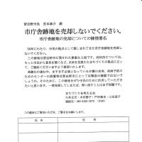市庁舎跡地売却反対の署名