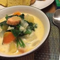 10月31日 夕飯…鮭のミルクスープ