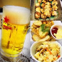 夜ご飯は、ホタテ釜飯と焼き鳥にビール(まま 奈井江)